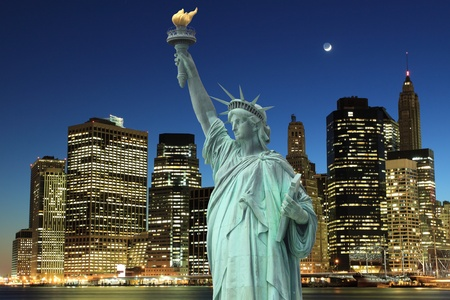 Manhattan Skyline and The Statue of Liberty at Night Lights, New York City  Stock Photo - 9869394