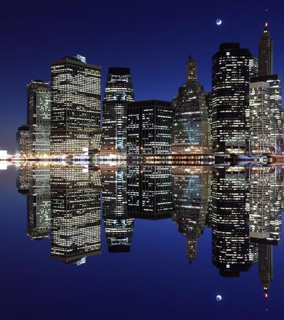 New York City skyline at Night Lights, Lower Manhattan  Stock Photo