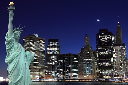 manhattan skyline and the statue of liberty at night lights, new york city  Stockfoto