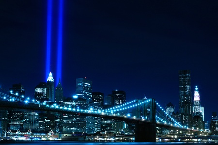 september 11: Brooklyn Brigde and the Towers of Lights at Night, New York City