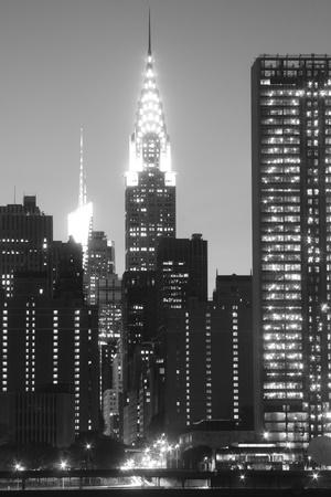 imperium: New York City skyline in de nacht lichten, Midtown Manhattan