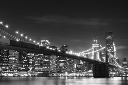 manhatten skyline: Brooklyn Bridge and Manhattan Skyline At Night, New York City  LANG_EVOIMAGES
