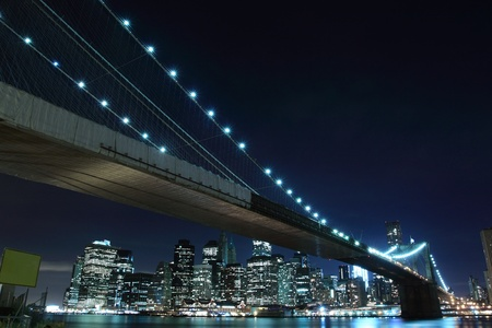 Brooklyn Bridge and Manhattan Skyline At Night, New York City  Stock Photo - 10623507