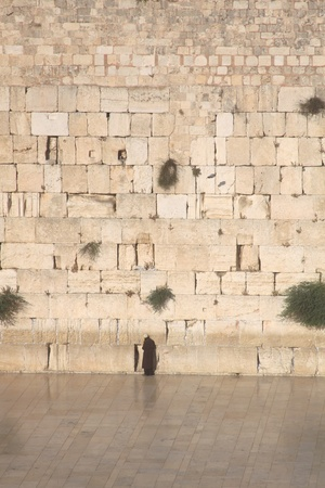 A Jewish Man Praying at the Western Wall, Kotel, Jerusalem Israel