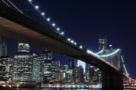Brooklyn Bridge and Manhattan Skyline At Night, New York City Stock Photo - 10839297