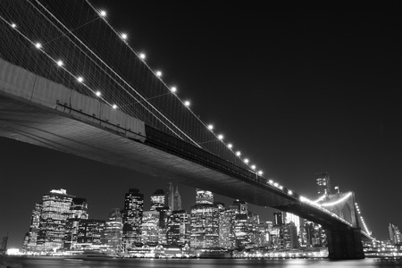 brooklyn bridge: Brooklyn Bridge and Manhattan Skyline At Night, New York City  LANG_EVOIMAGES