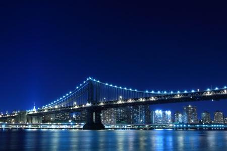 manhattan Bridge and Skyline At Night, New York City Stock Photo - 10839293