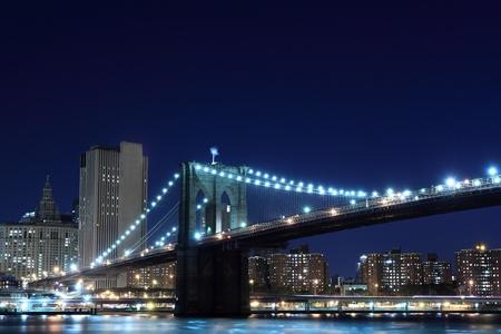 Brooklyn Bridge and Manhattan Skyline At Night, New York City Stock Photo - 10839295