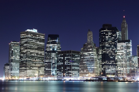 Manhattan Skyline at Night, New York City Stock Photo - 10900496