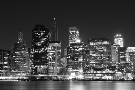 Manhattan Skyline At Night, New York City Фото со стока - 10839296