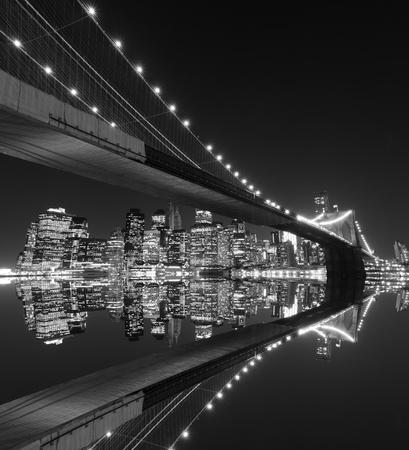Brooklyn Bridge and Manhattan Skyline At Night, New York City  Stock Photo - 10900498