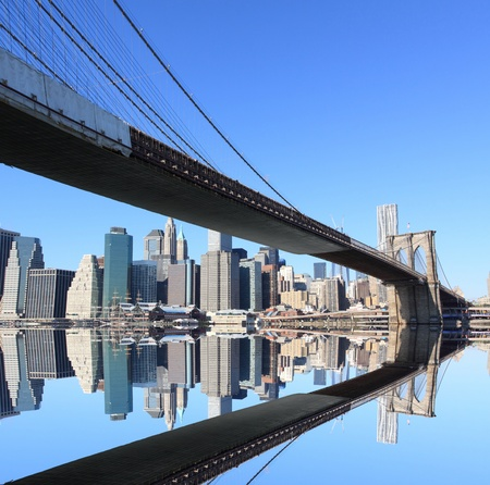 Brooklyn Bridge and Manhattan Skyline on a Clear Blue Day, New York City Stock Photo - 11250222