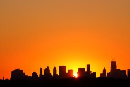 Manhattan Skyline Bij Zonsondergang, New York City Stockfoto