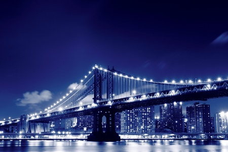 Manhattan Bridge and Skyline At Night, New York City  Stock Photo - 11250218