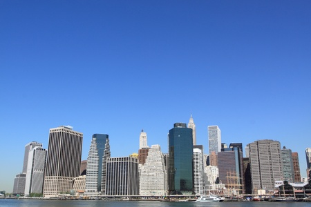 Manhattan Skyline and Skyscrapers on a Clear Blue Sky from Brooklyn, New York City Stock Photo - 11673094