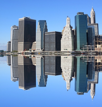Lower Manhattan Skyline and Skyscrapers on a Clear Blue Sky from Brooklyn, New York City  Stock Photo - 12972569