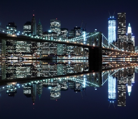 Brooklyn Bridge and Manhattan Skyline At Night, New York City Stock Photo - 12972576