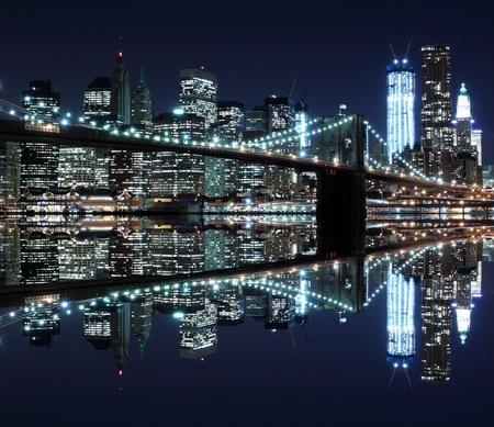 new york night: Brooklyn Bridge and Manhattan Skyline At Night, New York City  LANG_EVOIMAGES
