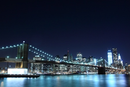 Brooklyn Bridge and Manhattan Skyline At Night, New York City  Stock Photo