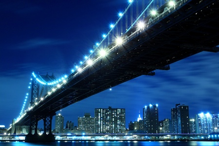 manhattan Bridge and Skyline At Night, New York City  Stock Photo - 12972571