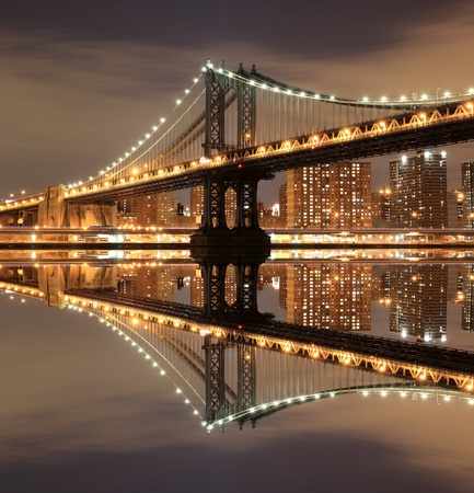 manhattan Bridge and Skyline At Night, New York City  Stock Photo - 12972575