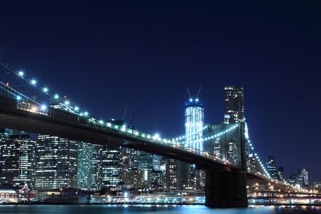 Brooklyn Bridge and Manhattan Skyline At Night, New York City  Stock Photo - 12972574