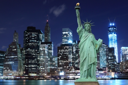 statue of liberty: Manhattan Skyline and The Statue of Liberty at Night, New York City