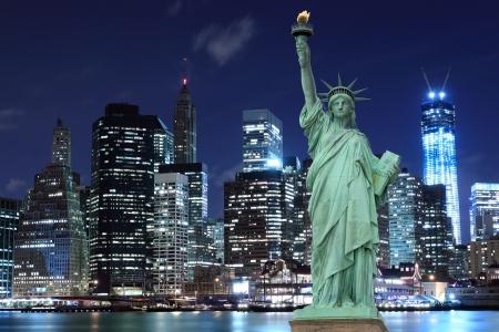 Manhattan Skyline and The Statue of Liberty at Night, New York City