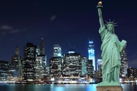 Manhattan Skyline and The Statue of Liberty at Night, New York City Stock Photo - 17356668