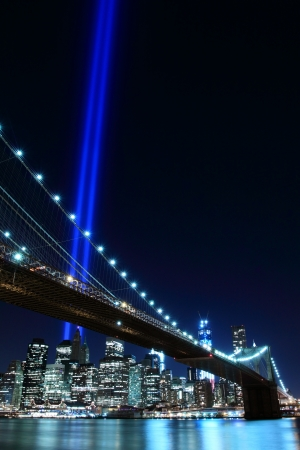 Brooklyn Brigde and the Towers of Lights at Night, New York City   Stock Photo - 17356649