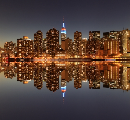 Midtown Manhattan skyline at Night Lights, New York City  Stock Photo