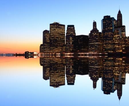 Manhattan skyline at Night Lights, New York City Stock fotó
