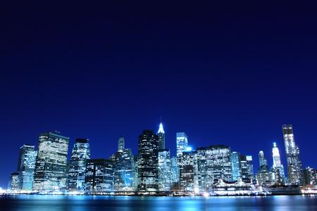 new york at night: Lower Manhattan Skyline At Night, New York City