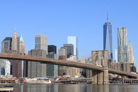 river scape: Brooklyn Bridge and Manhattan Skyline on a clear blue day, New York City