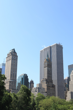Central Park and Manhattan skyline, New York City 免版税图像