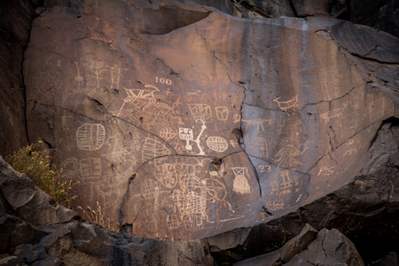 10,000 year old petroglyphs in Little Petroglyph canyon in the Cosos Mountains - California