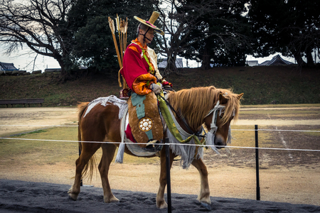 A horseback archer during a yabusame festival - Hikone 에디토리얼