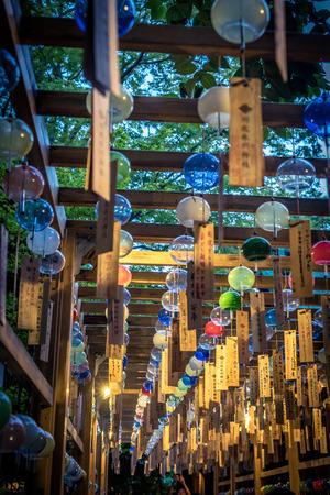 Wind Chime (fuurin) Festival at Hikawa Shirne in Kawagoe - Saitama Prefecture Фото со стока