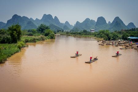 Bamboo rafts on the Yulong River - Guangxi China