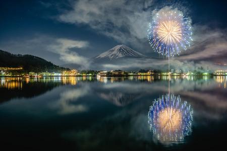 Fullmoon, Mt Fuji, and winter fireworks