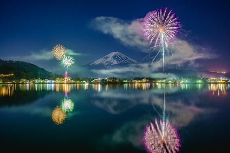 Fullmoon, Mt Fuji, and winter fireworks