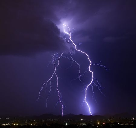 Lightning over the Tucson Mountains photo