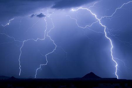 awe: Lightning over Avra Valley Arizona Stock Photo