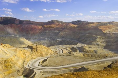 open pit: A large open pit copper mine in southwestern United States Stock Photo