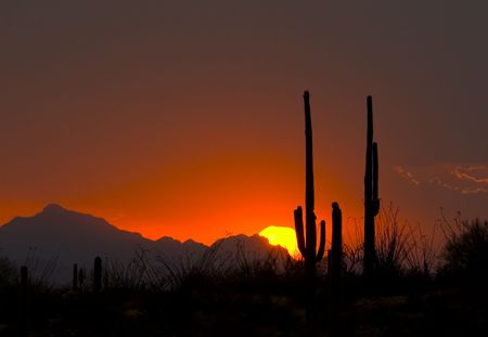 west end: The setting sun is visible through a light rain from a desert thundershower