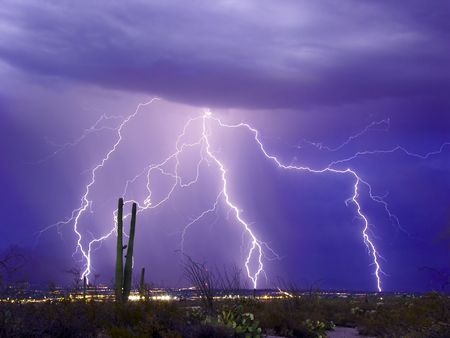 severe weather: Lightning display over Tucson, Arizona
