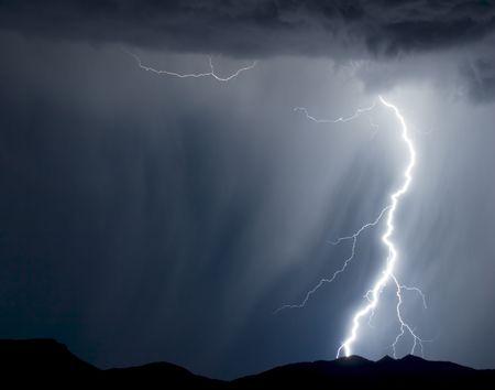 extreme weather: Rain and lightning Stock Photo