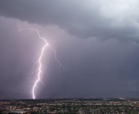 Lightning over the east side of Tucson Stock Photo - 6748101