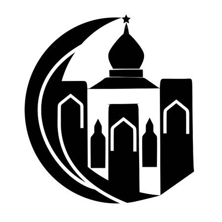 Black Mosque and Moon Islamic Logo Illustration