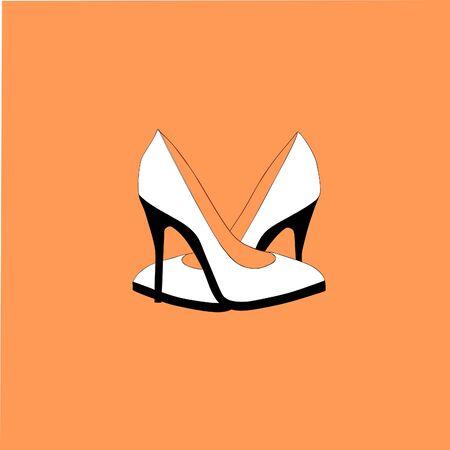 Lindo icono de tacones altos en la naranja